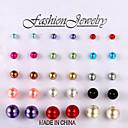 Европейские и американские серьги моды шарик цвета 15 пар серег стержня размера Свадьба / партии / Ежедневно / Повседневная 1set
