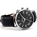 Мода Роман Диск Мужская Элегантный кожаный черный аналоговый кварцевые наручные часы