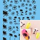 Вода трансферная печать Черный кокосовых пальм ногтей Наклейки