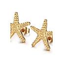 Estrela,Jóias 1 par Moderno Dourado Aço Titânio Diário / Casual