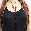 Women European Style Casual Fashion Simple Leather Cord Silver Bead Choker Necklace