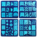 8PCS DIY Blue Film Nails Printing Nail Polish A Square The Steel Plate Suit 1