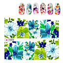 1sheets Charm Flowers Designed Nail Water Stickers