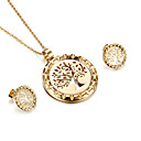 Kalen Women Fashion Jewelry Sets Stainless Steel Italian Gold Color Hollow Acacia Tree of Life Pendant Necklace And Earrings Sets