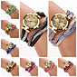 Women's  Small  Round  Dial Colors  Diamante Hemp Flowers Circuit   Flocking  Band Quartz  Watch (Assorted Color)C&d312