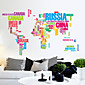 Colors Letters World Map PVC Wall Sticker Wall Decals