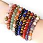 Beadia 1Pc Fashion 8mm Round Stone Elastic Strand Bracelet Gold Buddha Bracelet 9 Colors U-Pick